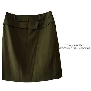 NWOT Moss green Tahari skirt with slight peplum